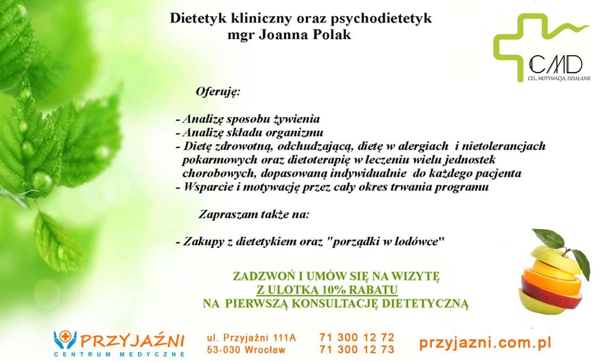 10 procent zniżki na wizytę u dietetyka (ulotka). Przychodnia we Wrocławiu. Centrum Medyczne PRZYJAŹNI