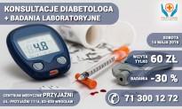 Konsultacje diabetologa + badania cukrzycowe