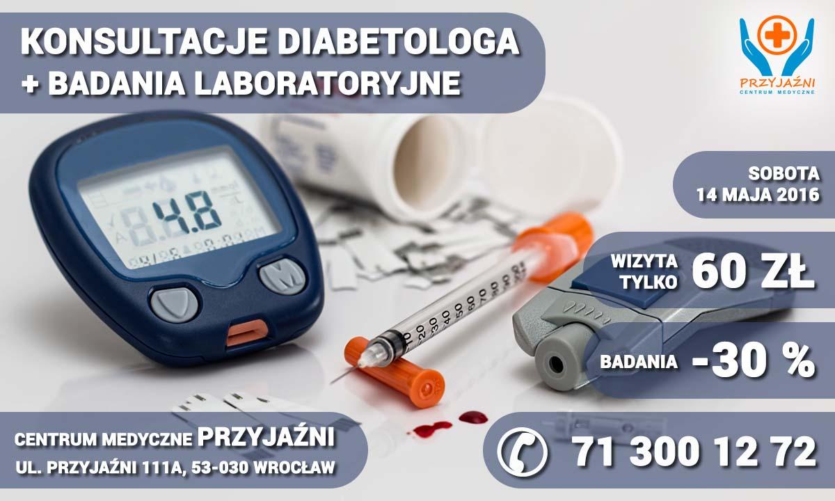 Diabetolog Wrocław. Badania cukrzycowe. Promocja. Przychodnia Wrocław. Centrum Medyczne PRZYJAŹNI