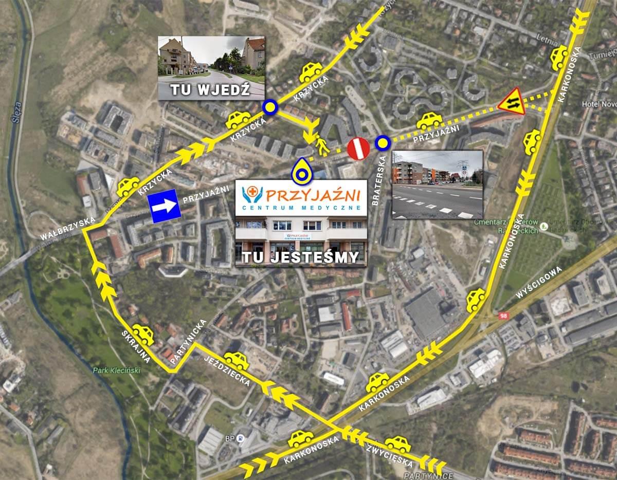 Mapka, gdzie zaparkować i jak dojechać samochodem do Centrum Medycznego PRZYJAŹNI