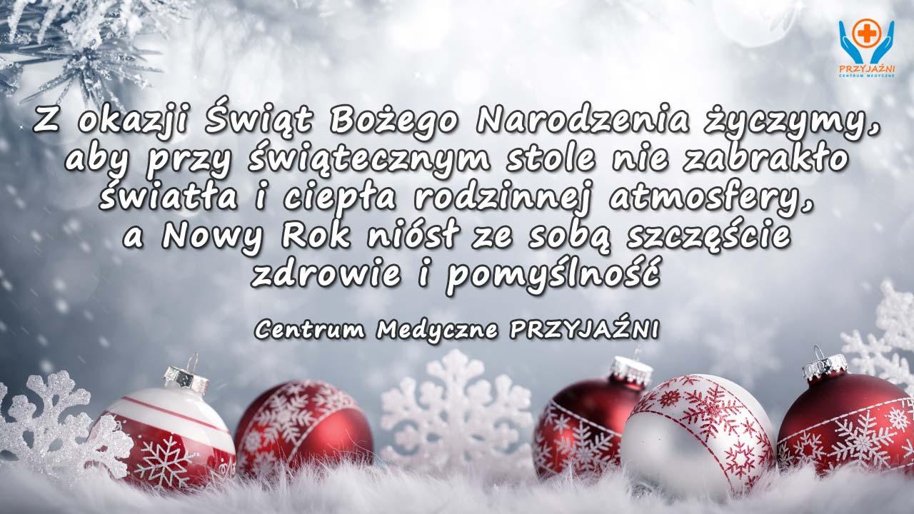 Życzenia bożonarodzeniowe 2016. Nowy Rok. Przychodnia Wrocław. Centrum Medyczne PRZYJAŹNI