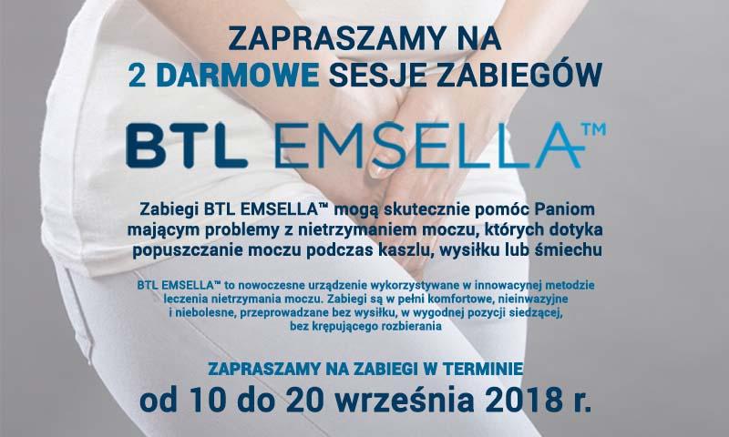 BTL EMSELLA - Darmowe zabiegi leczenia nietrzymania moczu