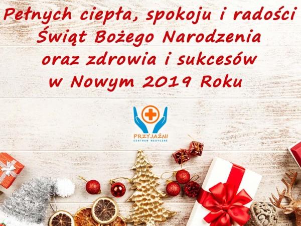 Życzenia Boże Narodzenie, Nowy Rok (2018). Przychodnia Wrocław. Centrum Medyczne PRZYJAŹNI